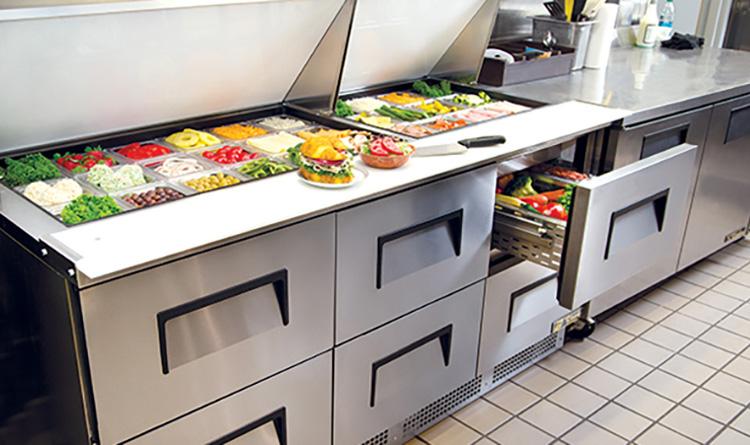 fast food prep table